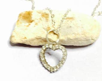 Vintage clear CZ & silver Heart Pendant/Necklace, Clearance SALE, Item No. S01d