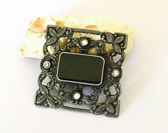 Vintage art deco sterling silver brooch, onyx, clear rhinestones, stamped, item no S081