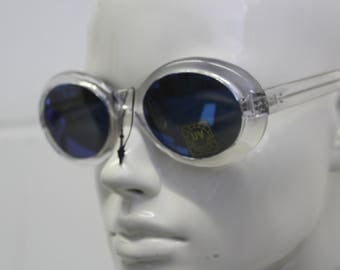 Vintage clear plastic sunglasses- rounded oval see through frames- blue mirror reflective lens   iridescent -nineties 90s -