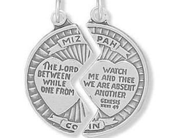 Mizpah coins etsy sterling silver mizpah break apart coin charm pendant medal aloadofball Choice Image