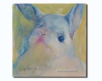 Western rabbit portrait Original oil Painting on canvas panel Farm animals