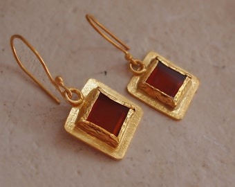 Gold Carnelian Earrings, Dangle, Gemstone Jewelry, Brown Orange Square Stone, Gold Plated on Sterling Silver