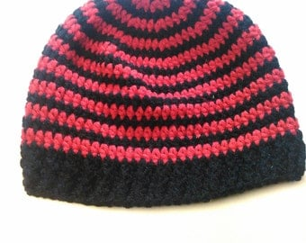 Red and Black Striped Teen/Adult Hat - Ready to Ship