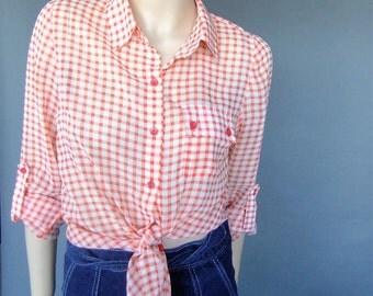 orange and white checkered blouse, shirt, tie up shirt