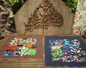 Hmong Village Embroidery, Machine Embroidered Textile, Set Of 2, Hmong Textile , Tribal Textile