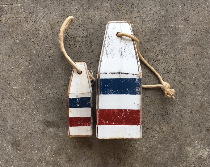 Coastal Decor Set White Navy Blue Red Lobster Buoy Nautical Wooden by SEASTYLE