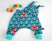 Baby harem pants and hat set, teal foxes, 3-6m - Made to order