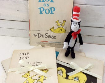 seuss ephemera- Hop on Pop page - set of 6 pages - 1963 - children's book pages - scrapbooking - altered art - kids room decor
