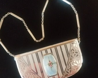Vintage Pendant Vanity Flapper Purse Dance Purse Signed Elginite EAM 1920s to 1930s Collectible