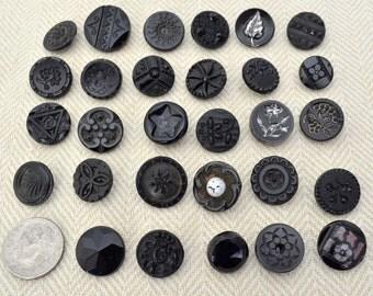Vintage Decorative Black Glass Buttons, Assortment of 29