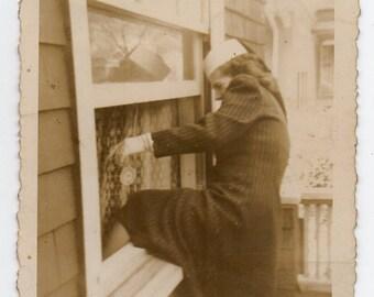 Woman Climbs Through Window Antique Snapshot Well Dressed Lady Burglar Fashionista Criminal Photo Photograph Has Substantial Wear