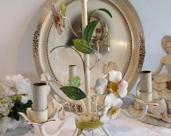 Vintage French metal, toleware flower chandelier.  Country cottage chic.