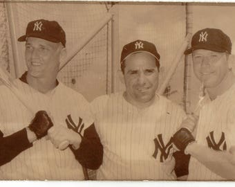 Vintage Postcard, Mickey Mantle, Yogi Berra, Roger Maris, New York Yankees, ca 1960