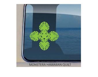 Monstera Hawaiian Quilt Decal