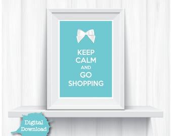 Blue Digital Art Print Keep Calm Go Shopping Cute Ribbon Home Decor - YOU PRINT Fun Artwork