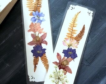 FERNS AND FLOWERS -  Set of 2 Real Natural Maine Pressed Garden Flowers and Ferns, Handmade Floral Art, Nature Bookmark, Gardener Gift