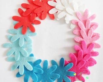 Felt flower, set of 18 pieces, Die Cut Shapes, Applique, Confetti, Party Supply, DIY Wedding