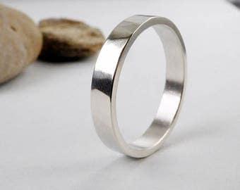 Sterling silver wedding ring. Simple minimalist band. His and hers ring.