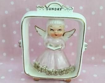 Sunday Angel ~~ Vintage Lefton Day of the Week Angel ~~ Angel in Frame ~~ #6883