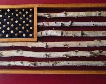 Birch, Flag, American Flag, rustic, art, rustic flag
