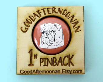 English bulldog button magnet, bulldog portrait magnet, dog sitter gift, english bulldog illustration, dog  breed gift