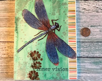 Mixed Media Two Sided Art Journal Dragonfly and Houses Blank Notebook