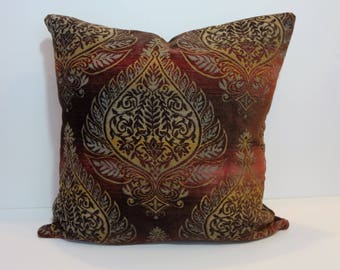 Decorative Pillow Cover, Brown, Red, Olive Green Pillow Cushion, 20 x 20