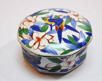 Vintage Ceramic Small Bowl with Lid Hand Painted Octangular Trinket Box Parrots and Flowers Design