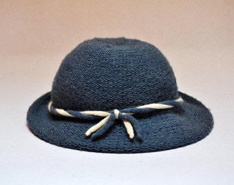 Vintage Blue Fedora Knit Wool Hat