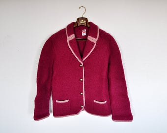 Vintage Oversized Folklore Magenta Pink Boiled Wool Jacket