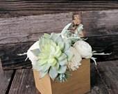 Artificial Succulent arrangement, centerpiece, wood box, home decor, wood vase, sola flowers, house warming, wedding reception, baby sh