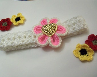 White Crochet Headband With A Pink Crochet Flower. Baby Headband. Baby Crochet Headband.