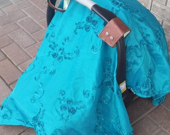 Satin Car Seat Canopy with Faux Leather Handles, OOAK, unique, Teal, SALE