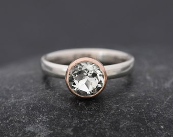 White Topaz Engagement Ring  - Rose Gold Engagement Ring - Solitaire Engagement Ring - Topaz Set in 9k Rose Gold - Made to Order