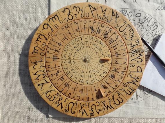 Cypher Wheel Cipher Disk Theban, Ogham, Enochian, & Celtic Runes, Secret Codes, Cryptography, Adventure Treasure Hunt Leon Battista Alberti