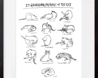 13 Grooming Postures of the Cat. Signed