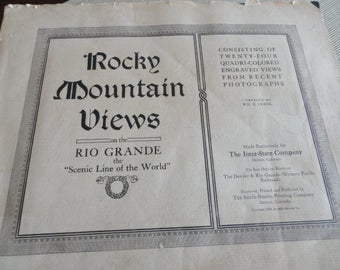 1914 Antique Rocky Mountain Views booklet of scenic views from a train ride thru Rockies