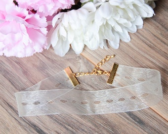 Sheer Cutout Ribbon Choker Necklace