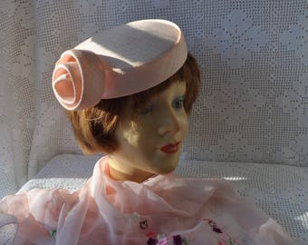 Blush Pink Spiral Fascinator Hat/Vintage 1950s/Sculpted Straw Statement Hat/Wedding Easter Special Occassion