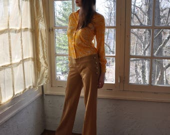 Vintage Hippie Bell Bottoms/Vintage 1960s/Tan Knit Hip Hugger Pants/Side Button Details/Size XS