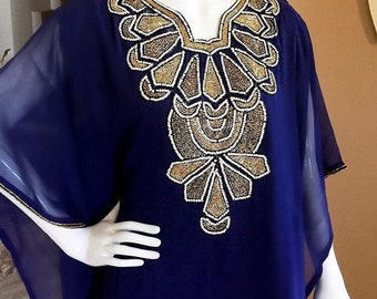 Navy Blue Embellished Sheer Caftan