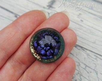 Deep violet rose on teal green with gold, Lampwork cabochon