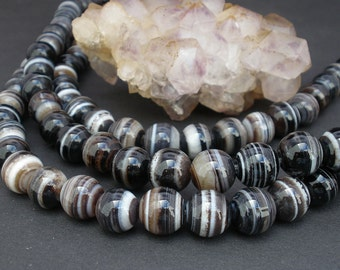"2 or 4 or 7 Strands Natural Banded Black Agate 10mm Round Beads - Full 15 1/4"" Strand  / Liquidation / Close Out Prices 2 - 7 Strands"