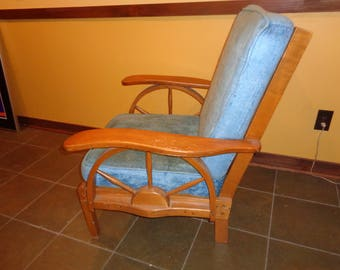 Vintage Americana Rustic Country Chic  Style Solid Maple Wooden Accent Chair, Great Sturdy and Strong Chair, Made Well and Made to Last