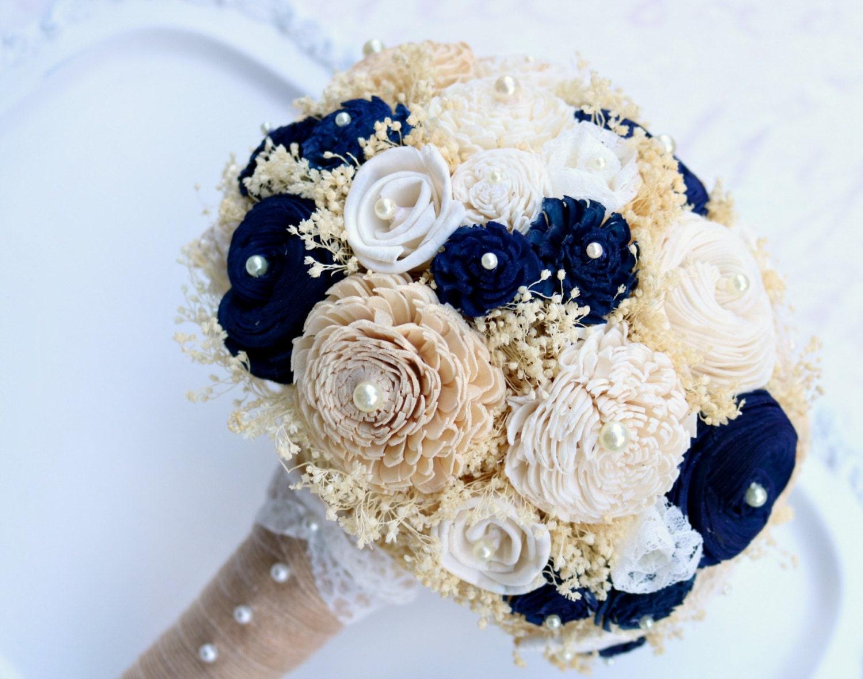 Gold Amp Navy Bridal Bouquet Gold Bouquet Wedding Bouquet