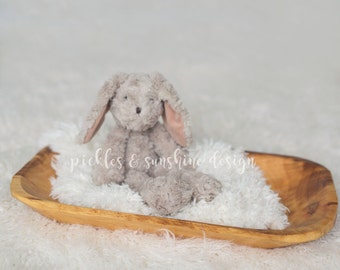 Natural Newborn Photography Trench dough bowl, carved wood tray photo prop, Primitive look photography posing prop for sitter session
