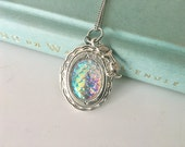 Silver Mermaid Locket, mermaid necklace, rainbow AB locket, Mermaid jewelry