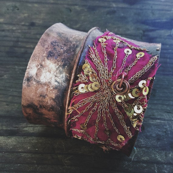 Fold-formed copper cuff with embroidered sari fabric   rustic copper cuff, copper cuff, copper cuff bracelet, textured copper, wide cuff