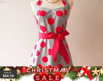 Christmas SALE Skater Dress Halter Red Polka Dot Big Dot Gray Christmas Summer Sundress Valentine Dress - High Quality Handmade Dress - ,...