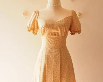 Clearance SALE My Dream - Baby Doll Dolly Sleeve Dress Vintage Style Sundress Floral Bridesmaid Dress Summer Dress